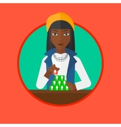Woman building pyramid of network avatars vector image