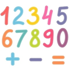 numbers from zero to nine and math symbols vector image