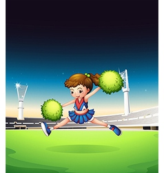 A field with a young girl performing vector image