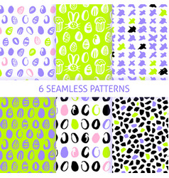 Happy easter trendy seamless patterns vector