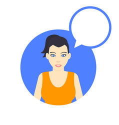 Flat style female character with speech bubble vector