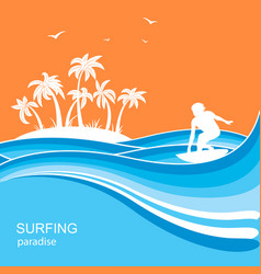 Surfer and sea waves backgroundsummer nature vector