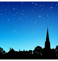 Church spire with night sky vector
