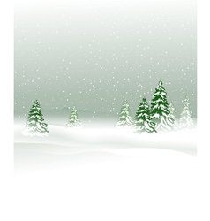 Winter landscape with Christmas trees vector image