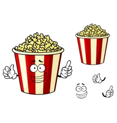 Cartoon funny striped box of popcorn vector image