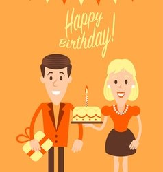 Happy couple retro art vector