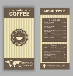 Design a menu for coffee vector