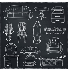 Set of doodle sketch furniture vector
