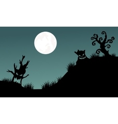 Halloween tree monster and full moon backgrounds vector