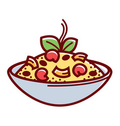Bowl with tasty food vector