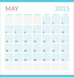 Calendar 2015 flat design template May Week starts vector image