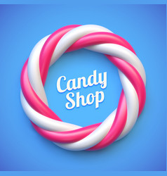 candy cane circle frame on blue background vector image vector image