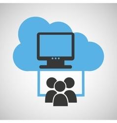 cloud connection social media computer vector image