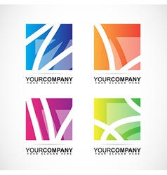 Company logo square abstract elements vector