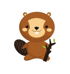 Cute beaver icon vector
