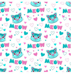 cute childish seamless pattern with funny cats vector image
