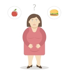 Fat Woman Makes a Choice Between an Apple and vector image