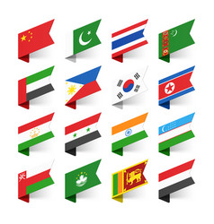 Flags of the world asia set 1 vector