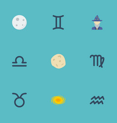 flat icons bull twins lunar and other vector image vector image