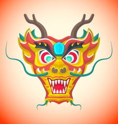 Flat style chinese red dragon mask vector
