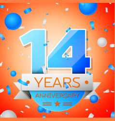 Fourteen years anniversary celebration vector