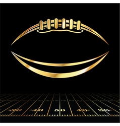Golden american football and field lines vector