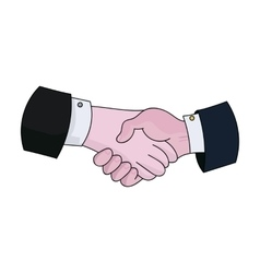 Handshake icon in cartoon style isolated on white vector image vector image