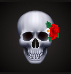 Human skull isolated with flower vector