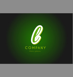 L alphabet letter logo green 3d company icon vector