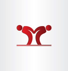 Letter m pepole dancing icon vector