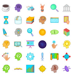 Long brainstorm icons set cartoon style vector