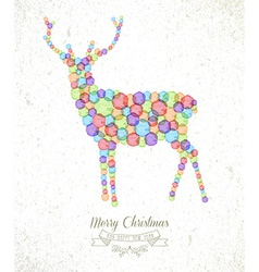 Merry Christmas watercolor spot reindeer card vector image