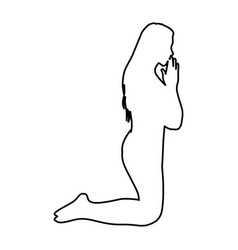 Monochrome contour of woman praying on knees vector
