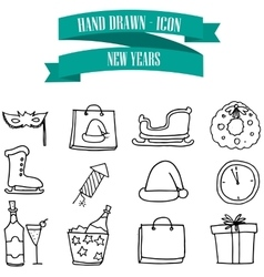 New Year icons with hand draw vector image