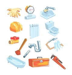 Plumbing related instruments and objects set vector