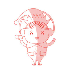 Red shading silhouette cartoon full body christmas vector