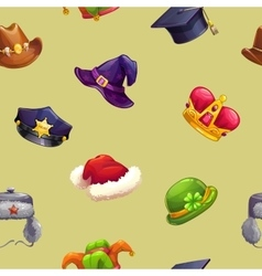 Seamless pattern with funny cartoon hats vector image vector image