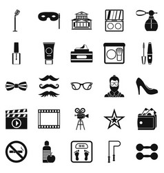 Social events icons set simple style vector