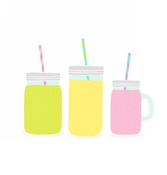 Three different jars with smoothie vector image vector image