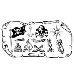 treasure map with many pirate symbols vector image