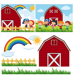 Two farm scenes with red barn and happy children vector