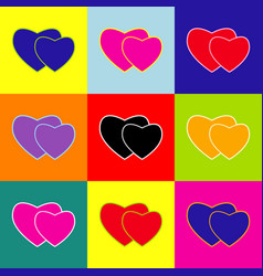 Two hearts sign pop-art style colorful vector