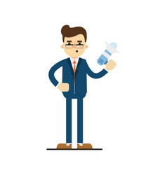 Young concentrated businessman hold megaphone vector