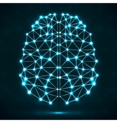 Abstract polygonal brain with glowing dots and vector