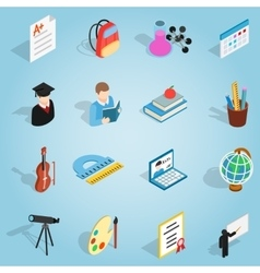 Education set icons isometric 3d style vector
