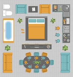 Furniture top view vector