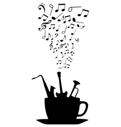 Cup of tea or coffee with musical notes vector image