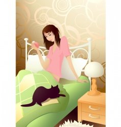 Young girl in the morning vector
