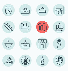 Set of 16 meal icons includes doorway closed vector