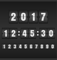 White countdown timer and mechanical scoreboard vector